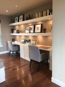 Home Office Small Space Ideas Beautiful Lights Below the Shelves Homeofficeideas
