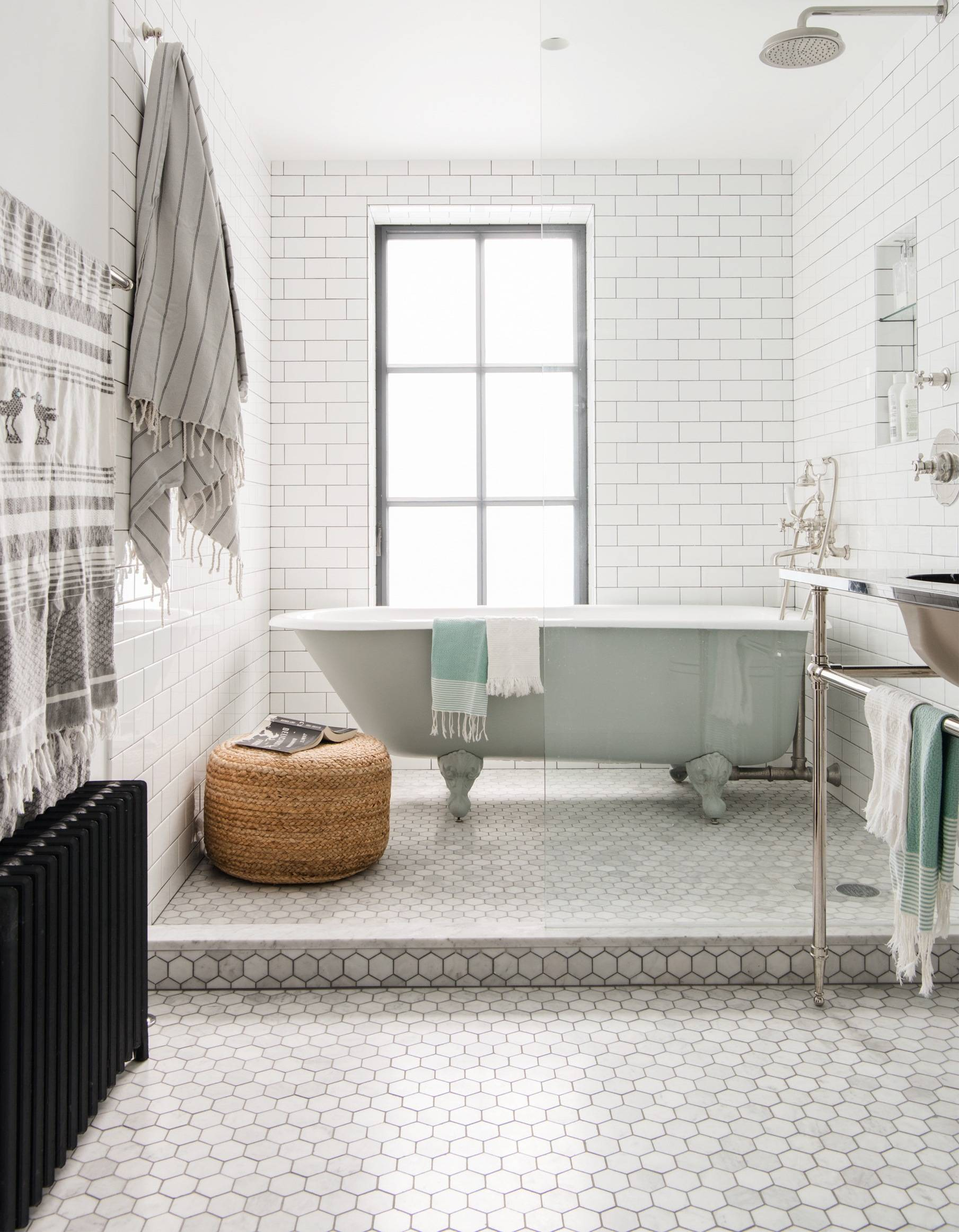 bathroom white subway hex tile brooklyn remodel elizabeth roberts cropped cover image