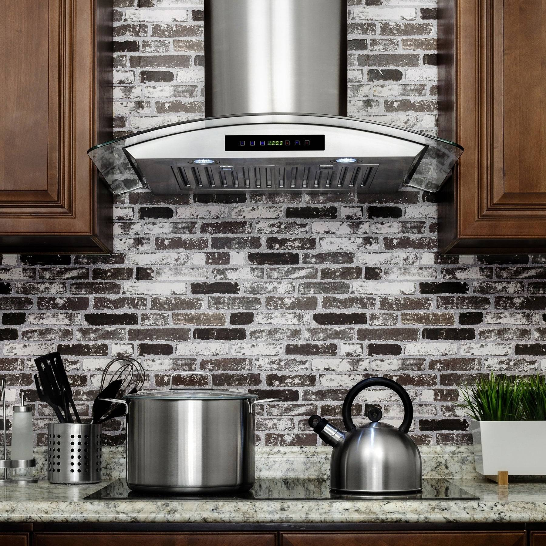 AKDY RH0270 30 in Convertible Wall Mount Range Hood in Stainless Steel with Tempered Glass Touch Control and Carbon Filters 86ef9fb2 a4df 49fe 89ef cc41cc