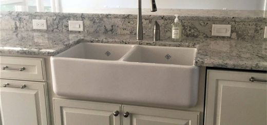 Ice Brown Granite New Apron Front Sink with White Ice Granite