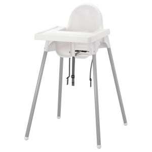 Ikea Collaboration Luxury Highchair with Tray Antilop Silver Colour White Silver Colour