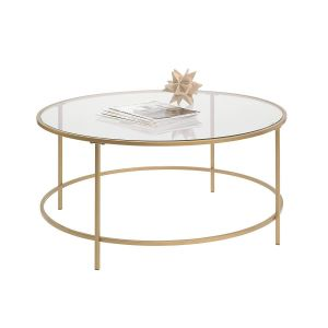 Inch Decorator Table Fresh Sauder Int Lux Coffee Table Round Glass Gold Finish