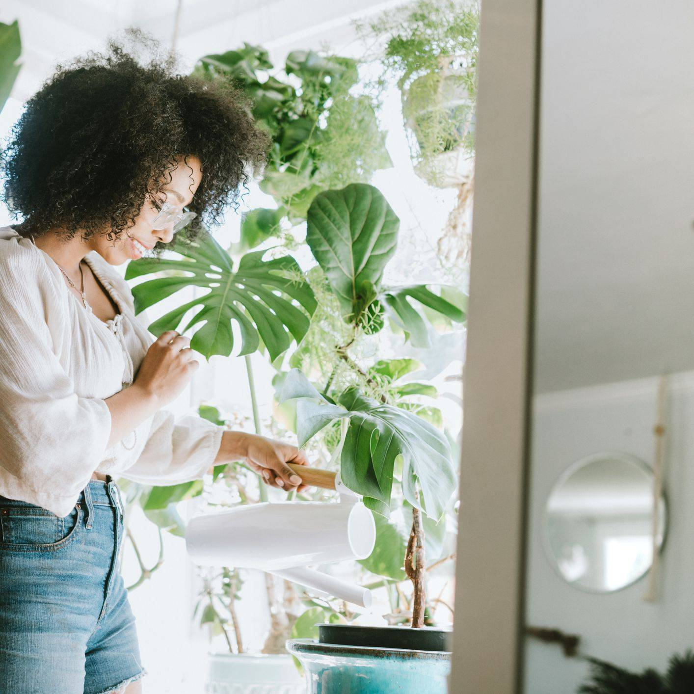 a young woman waters her houseplants 5c e0fb c83