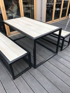 Industrial Picnic Tables Fresh Outdoor Garden Set Industrial Style Posite Seating and