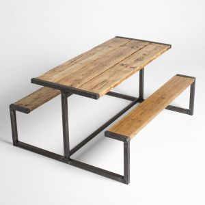 Industrial Steel Table Unique Industrial Style Pub Bench Picnic Table In 2019