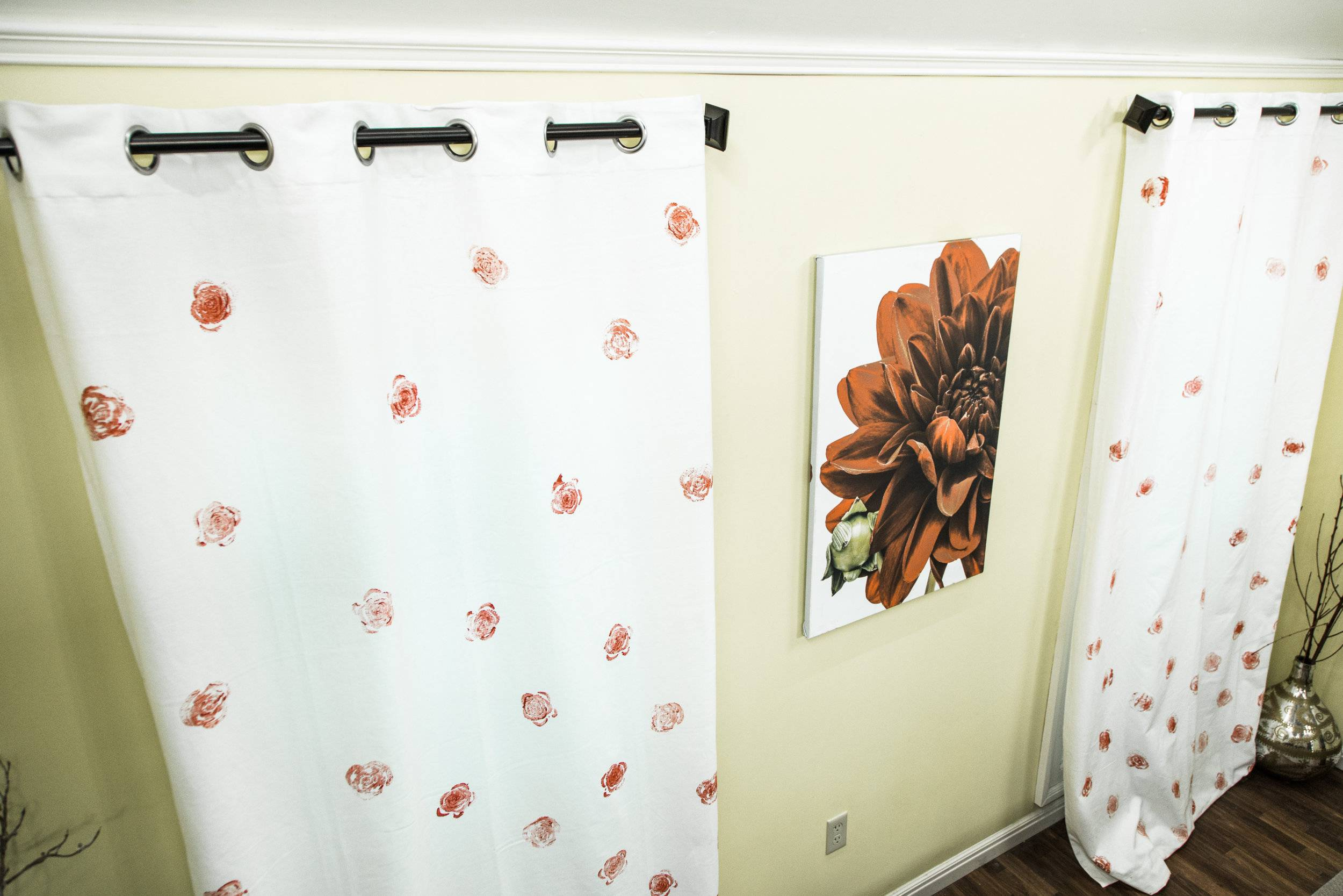 home family diy paint stamp curtains