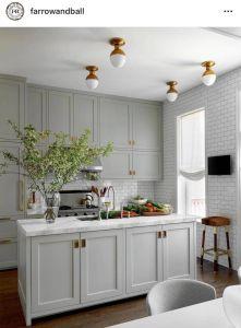 Kitchen Cabinet Colors Unique Farrow Ball Shaded White island Hardwick White Perimeter