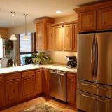Kitchen Cabinet L Shape Fresh Light Brown L Shaped Oak Wood Kitchen Cabinet with Stove