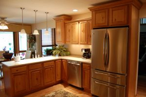 Kitchen Cabinet L Shape Fresh Light Brown L Shaped Oak Wood Kitchen Cabinet with Stove