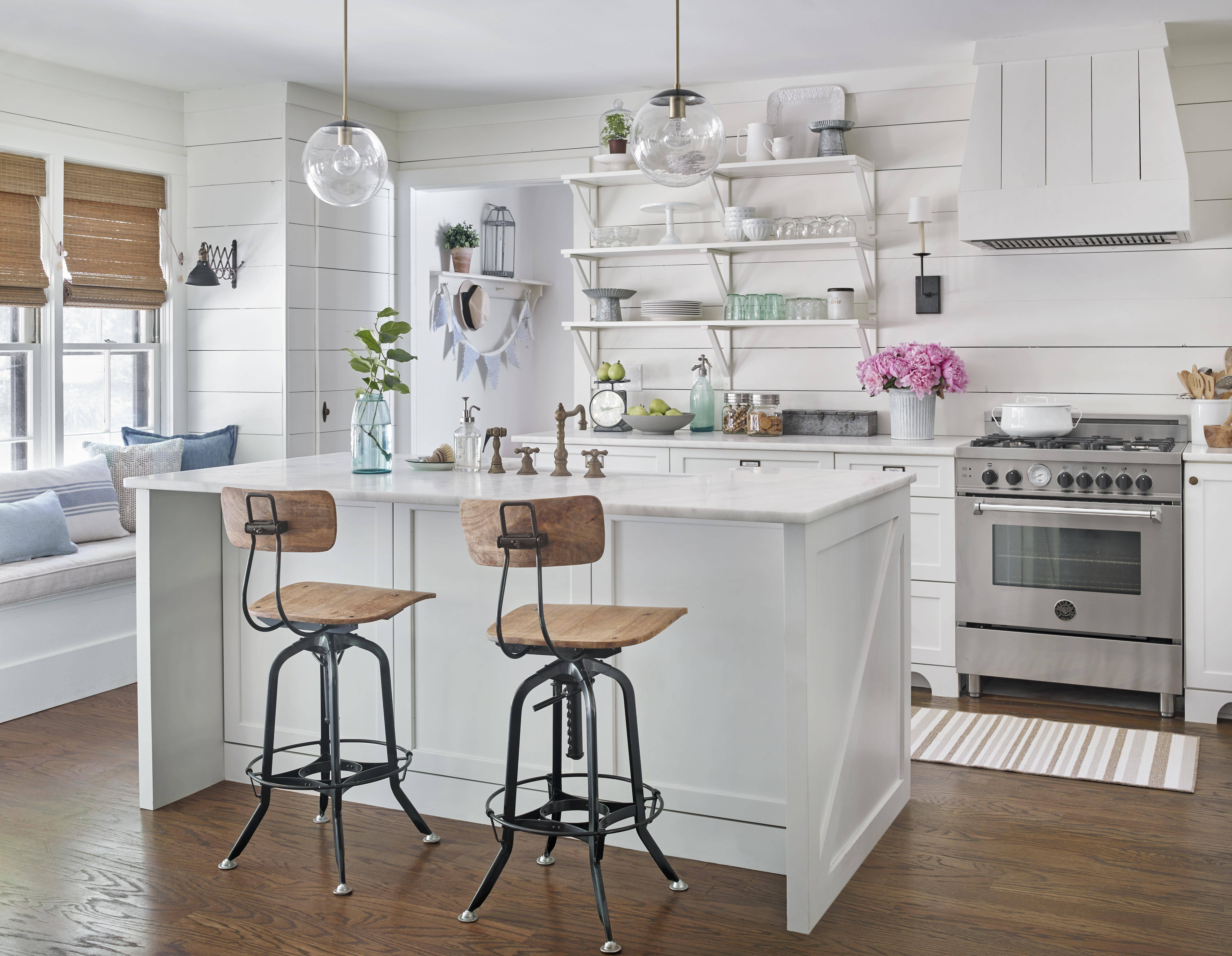 white vintage contemporary kitchen after