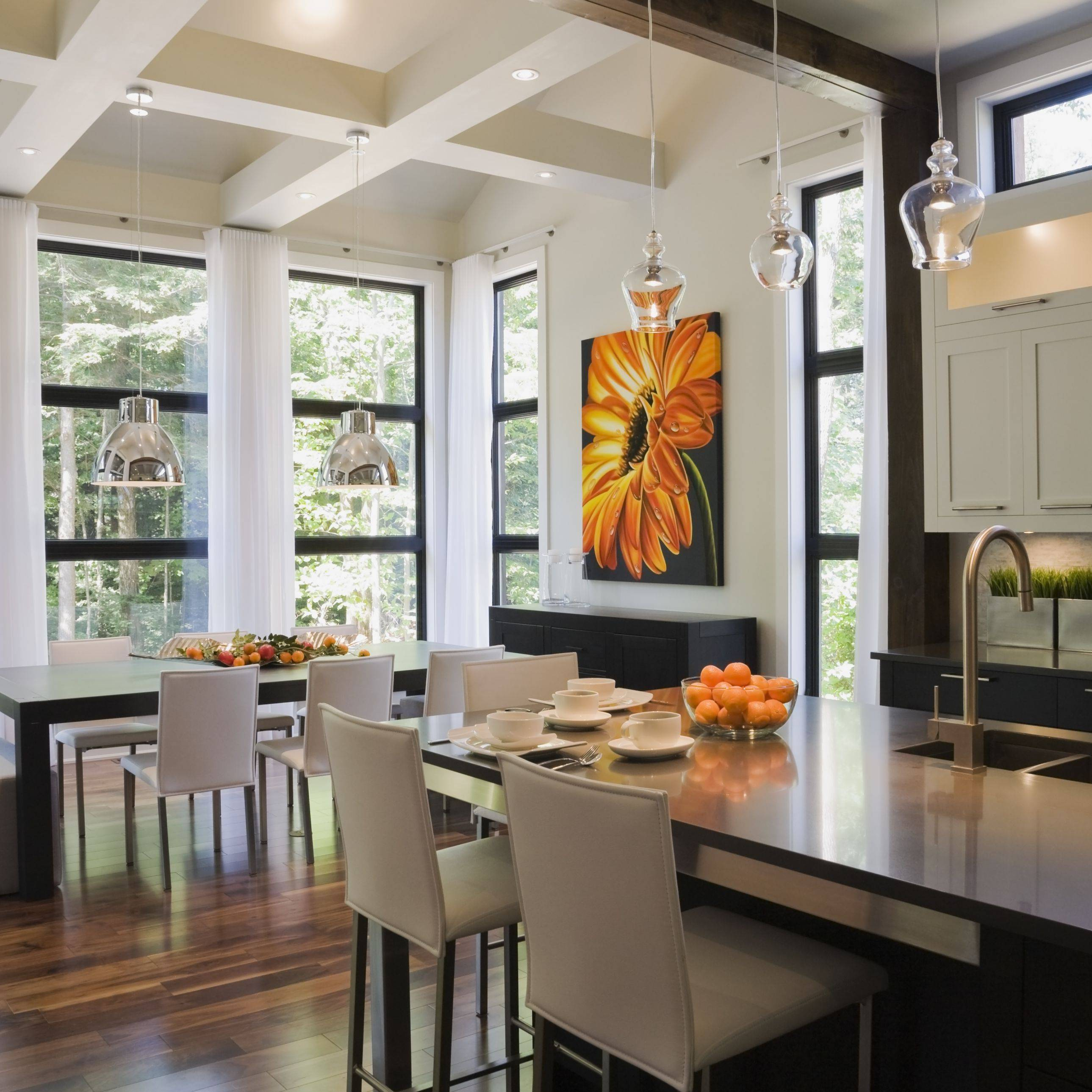 Upscale Kitchen with Wood Floor and Open Beam Ceiling Perry Mastrovito 56a4a16a3df78cf