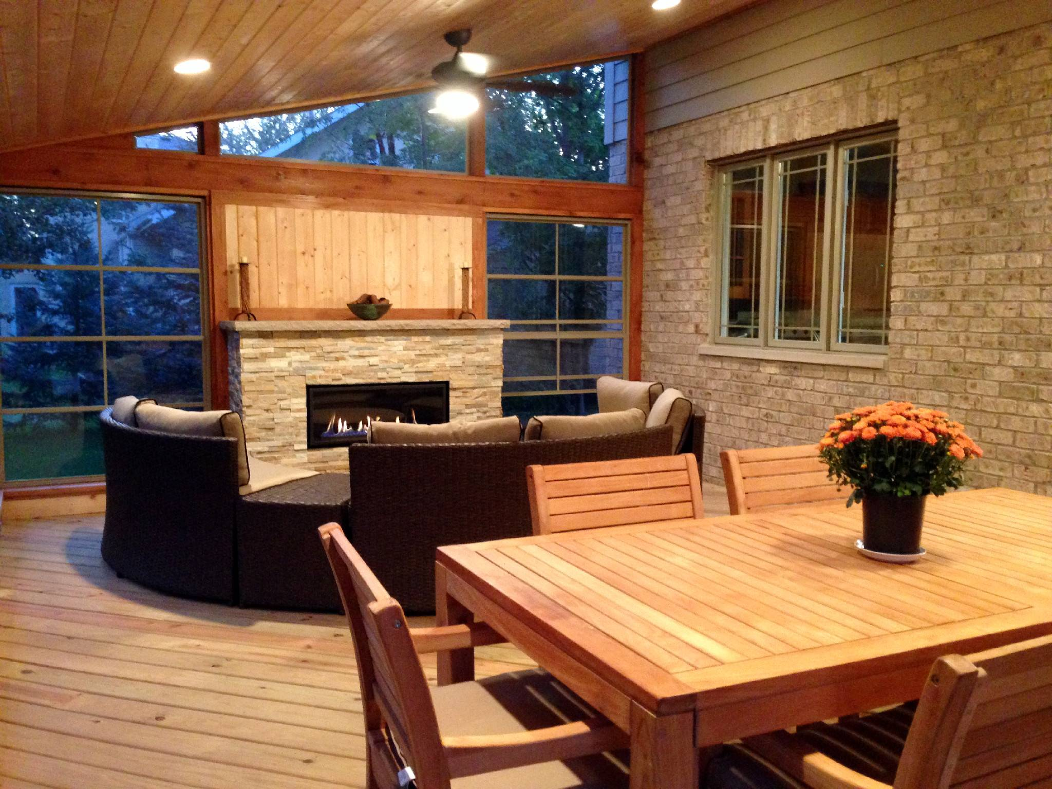Cedar Screen Porch with Outdoor Fireplace by Chicago Porch Builder Archadeck of Chicagoland
