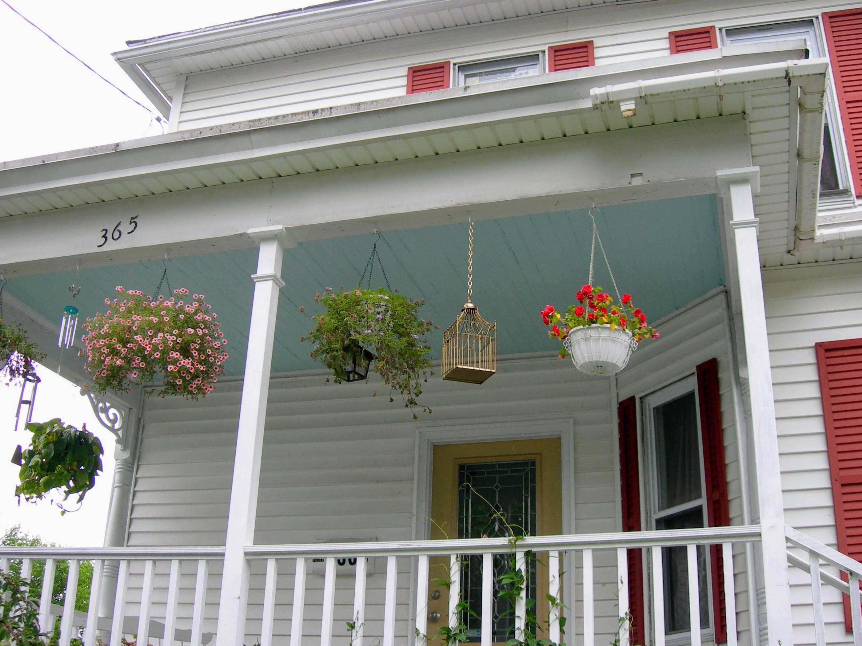 Haint blue Victorian porch ceiling