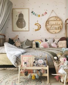 Light Pink and Mint Green Bedroom Elegant Incy Interiors Rose Gold Bed Coco & Wolf Liberty Bedding