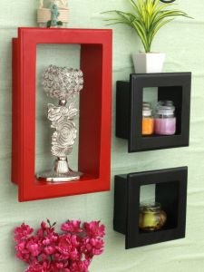 Living Room Wall Decor Awesome Home Sparkle Mdf Set Of 3 Wall Shelves W Frames for Wall Décor Suitable for Living Room Bed Room Designed by Craftsman