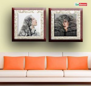Living Room Wall Decor Elegant Ledecor Canvas Painting Wall Decor Tree Girl Set 2 Canvas