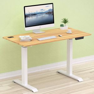Make Your Desk Into A Standing Desk New Shw Electric Height Adjustable Puter Desk 48 X 24 Inches Light Cherry