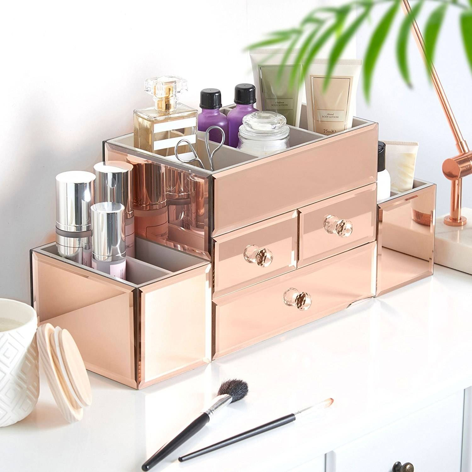 beautify rose gold makeup organizer