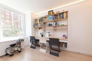 Modern Kids Shelves Elegant Floating Desk for Three with Enough Elbow Space so No One is