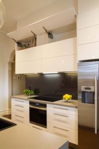 Modern Kitchen Colors Unique Modern Galley Style Kitchen Lift Up Overhead Cupboards by