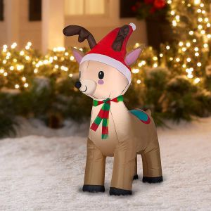 Moose Christmas Yard Decorations Lovely Airblown Inflatable 4ft Snowman & Reindeer Bundle