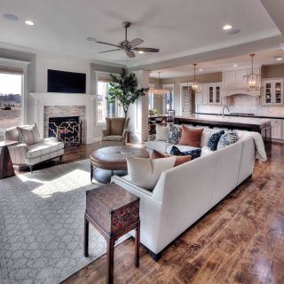 Open Floor Plan Kitchen and Family Room Beautiful Family Room Mounted Tv with A Standard Fireplace Open