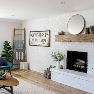 Painting A Accent Wall Lovely Family Room Accent Wall with White Painted Brick Wall and