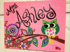 Painting Canvas Ideas Awesome I Painted This Teacher Name Canvas to Match Classroom