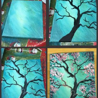 Painting Canvas Ideas Beautiful Step by Step Pink Flowering Tree Painting with Pretty Teal