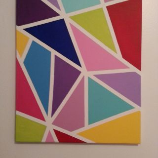Painting Canvas Ideas Fresh Colorful Canvas Made with Masking Tape and Acrylic Paint