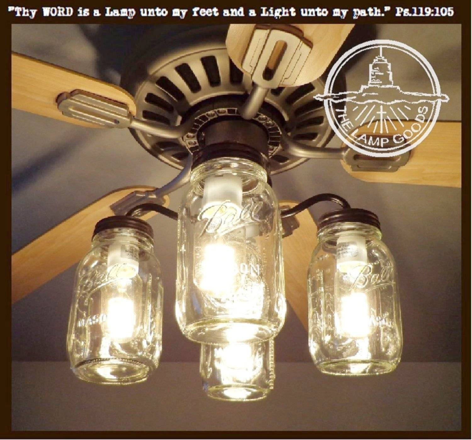 Mason jar ceiling fan Light Kit fixture New Quart Jag JPG