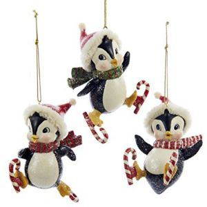 "Penguin Outdoor Christmas Decorations Luxury Kurt Adler 4"" Resin Skating Penguin ornament 3 asstd"
