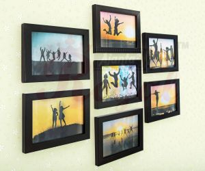 Picture Frame Wall Decor Beautiful Ajanta Royal Glass Wall Hanging Black Frame Sets Pack Of 7