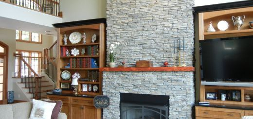 Pictures Of Stone Fireplaces Elegant Stone Fireplace Surrounded by Built In Bookshelves Creates A