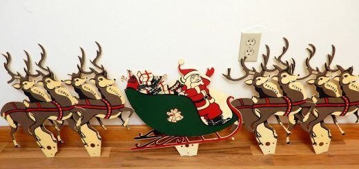 Plastic Santa Sleigh and Reindeer Outdoor Decoration Luxury Santa and Reindeer Large Vintage Christmas Decor Flat