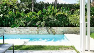 Pool and Landscape Design Luxury Pool Stone Wall Garden Dec14 Small Gardens