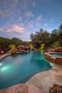 Pool Landscaping with Rocks Fresh Travertine Beach Entry Elevated Spa and Huge Rock Waterfall
