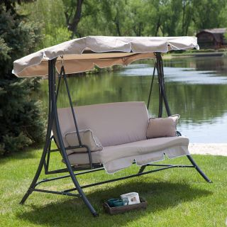 Porch Bed Swing Elegant Canopy Patio Porch 3 Person Swing Lounger Chair and Bed Cappuccino