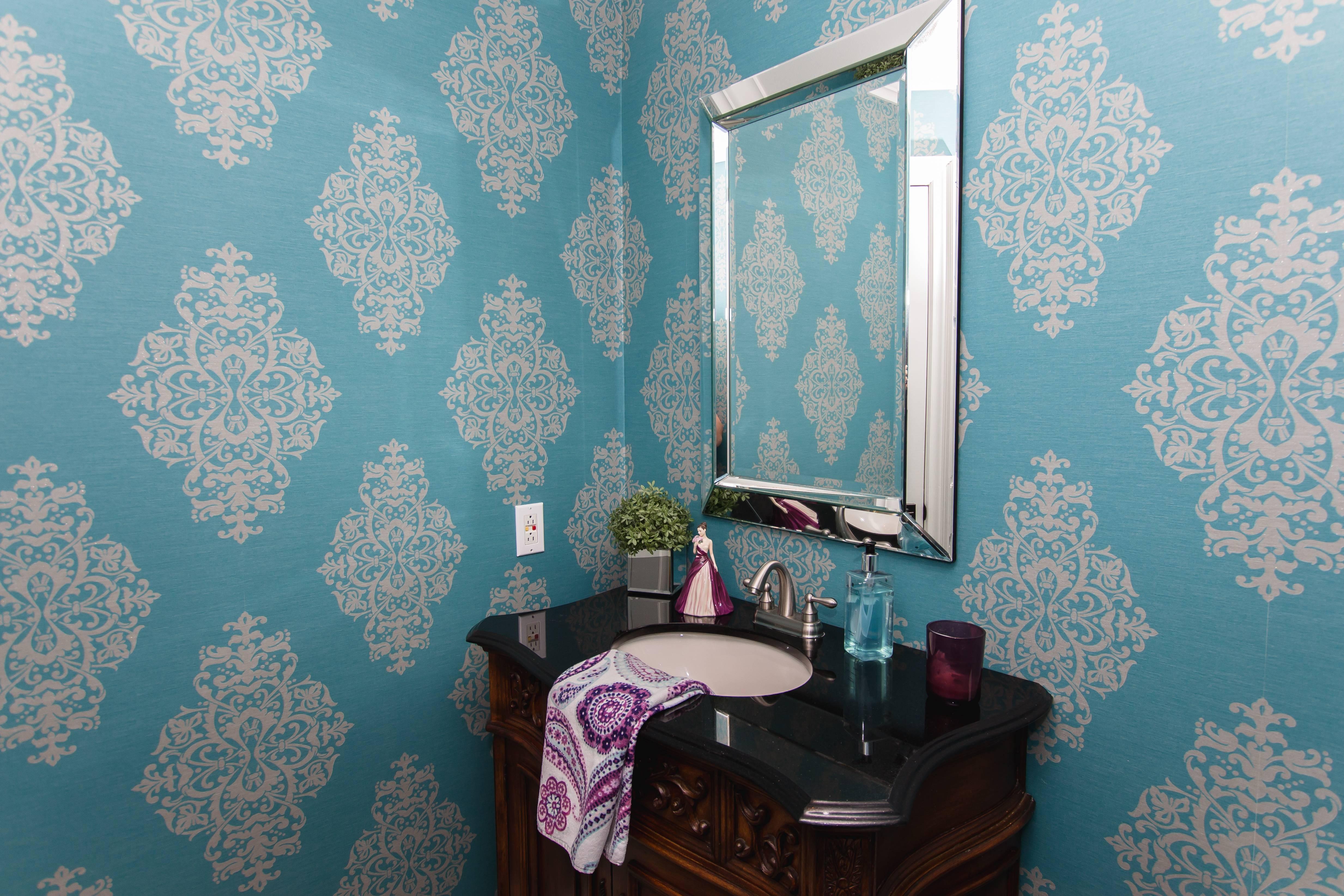 blue damask powder room wallpaper decor maple drapery
