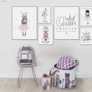 Princess Wall Decorations Bedrooms Elegant Pink Princess Queen Flamingo Typography Quotes Posters and