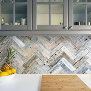 Reclaimed Wood Design Elegant Herringbone Backsplash Using Peel and Stick Barn Wood