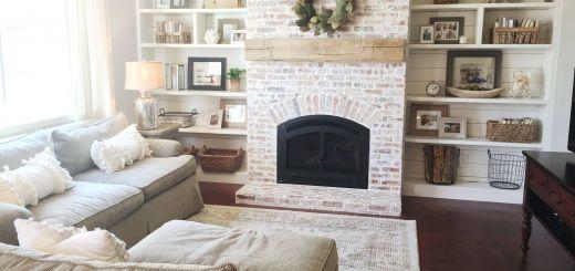 Rustic Fireplaces Best Of Built Ins Shiplap Whitewash Brick Fireplace Bookshelf