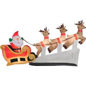 Santa Sleigh Yard Decoration Beautiful Gemmy Industries Yard Inflatables Floating Santa Sleigh with Reindeer 6 Ft Walmart