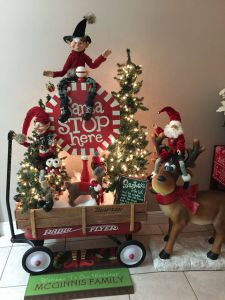 Santa Sleigh Yard Decoration Luxury Santa Stops Here Raz Elf Radio Flyer Wagon Happy Deer