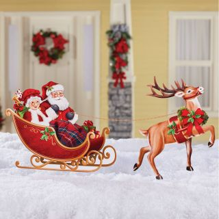 Santa Sleigh Yard Decoration New Santa Sleigh and Reindeer Metal Yard Stake Set