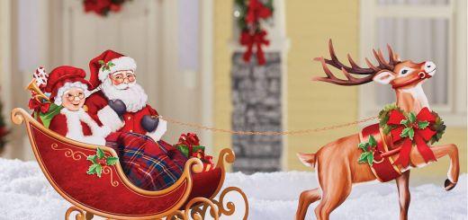 Santa Sleigh Yard Decoration New Santa Sleigh and Reindeer Metal Yard Stake Set