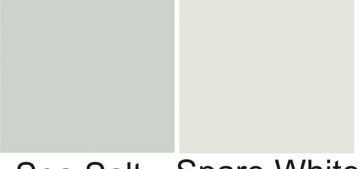 Sherwin Williams Silver Strand New Sw Sea Salt Sw Spare White Walls White Wainscot