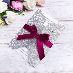 Silver Glitter Wedding Decorations Beautiful Elegant Silver Glitter Laser Cut Invitation Cards with Burgundy Ribbons for Wedding Bridal Shower Engagement Birthday Graduation Business