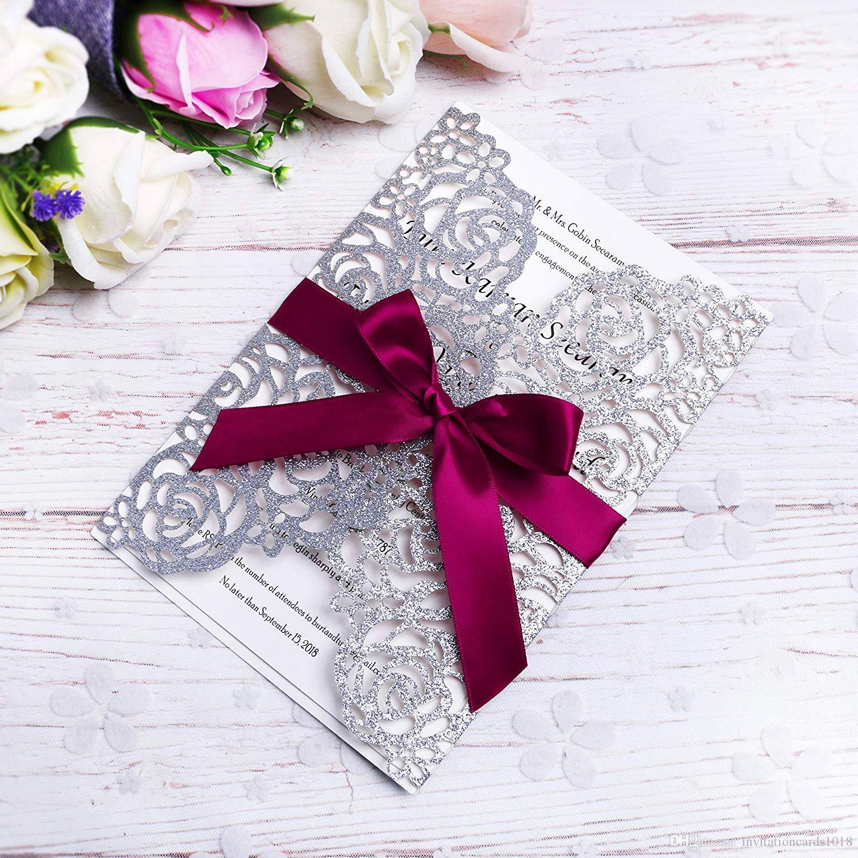 elegant silver glitter laser cut invitation