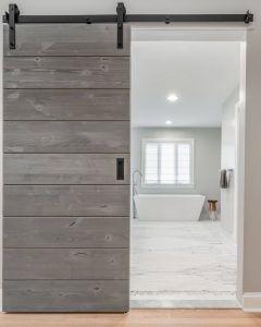 Sliding Barn Doors for Closets Inspirational A Rustic Alder Door In A Driftwood Grey Finish On Black